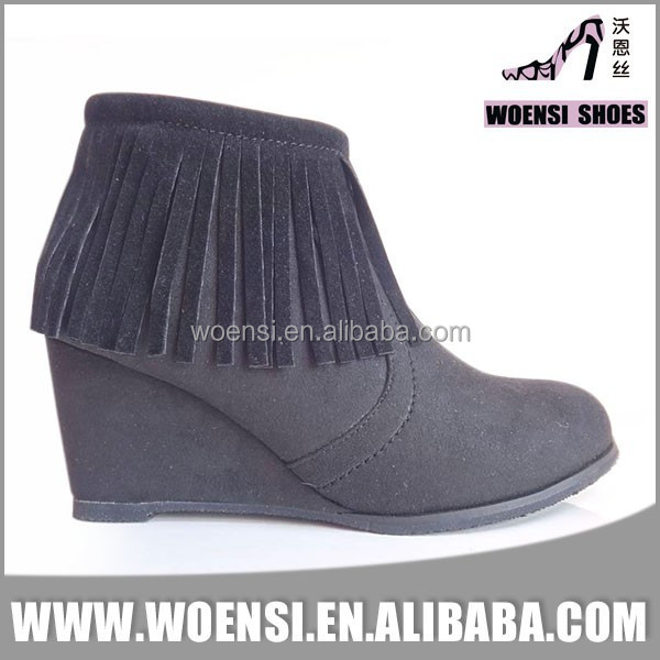 ladies new design wedge heel boots with tassels