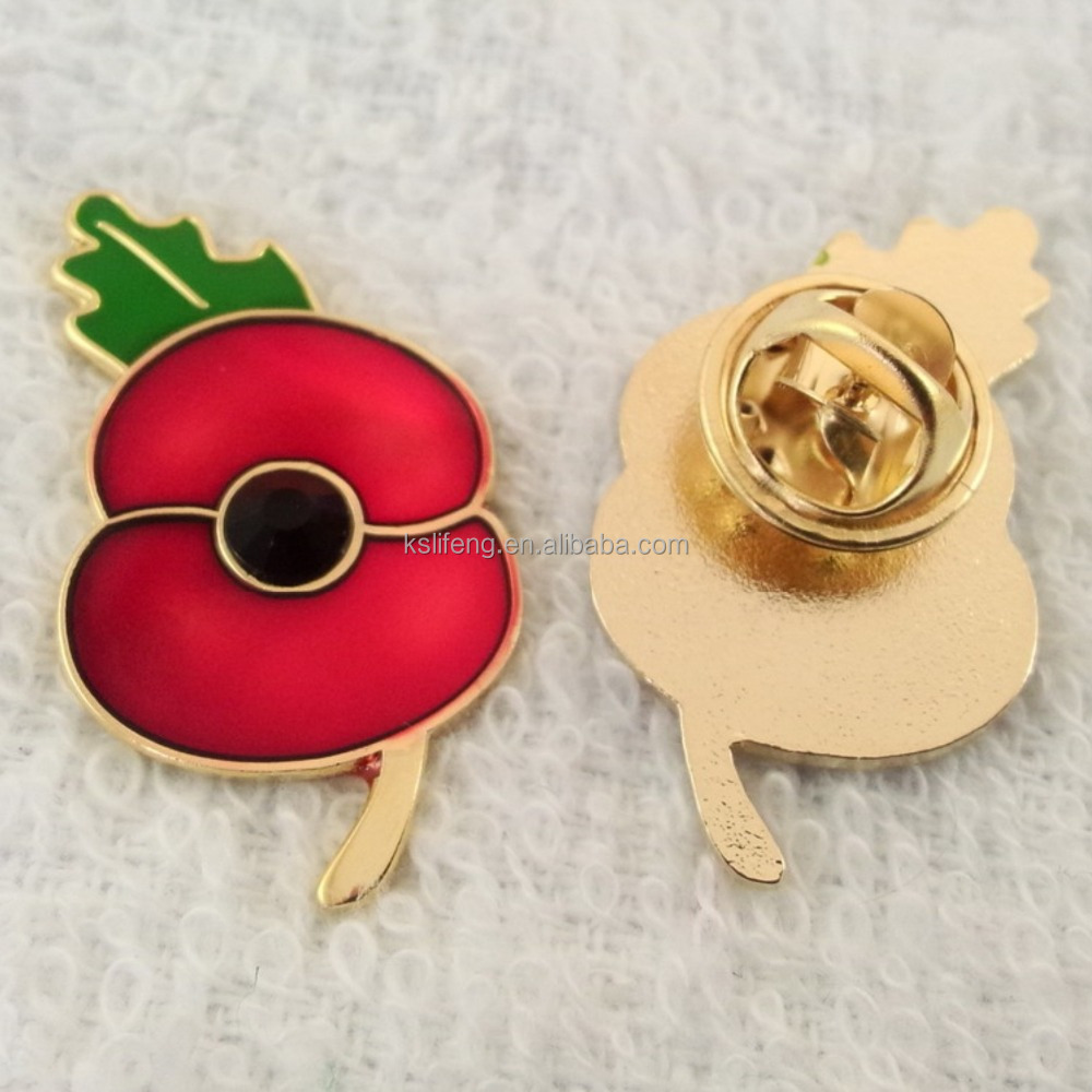 Custom Poppy Pin Flower Lapel Pins Badge Manufacturer