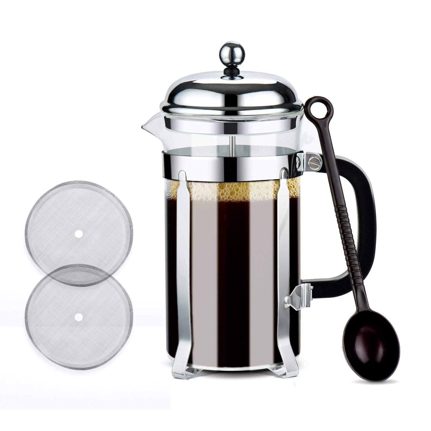 Glotoch Stainless Steel French Press Coffee & Tea Maker(8 cup, 34 oz), Glass French Press Coffee & Tea Pot for Coffee/Tea/ Camping/Office (Silver, Round Roof)