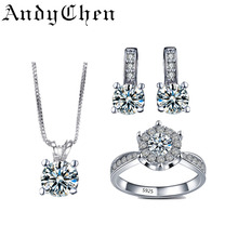 AndyChen Bridal Jewelry Sets for Women Silver Plated Earrings Pendants Necklace Wedding Ring Crystal Bijoux Femme