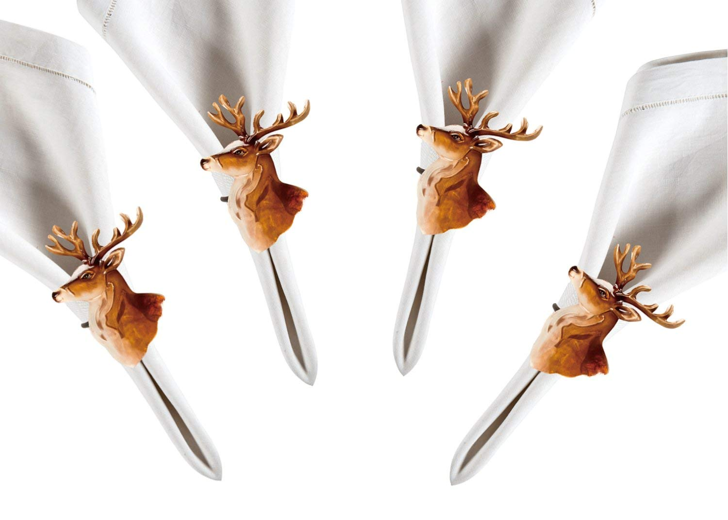 Lake House Rustic Deer Head Pearlized Capiz Shell Napkin Rings Set of 4