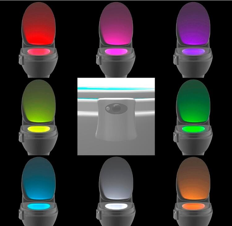 Alibaba assurance Motion activated Led Toilet nightlight ,8 colors change LED toilet light for toilet room