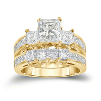 2016 high quality princess cut white stone rhodium plated ring set clear cz latest 14K gold wedding ring designs for ladies