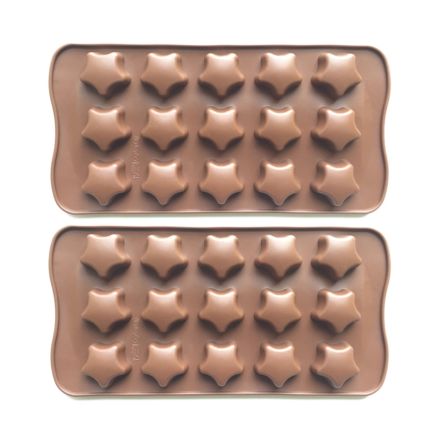 2pcs Silicone Stars Chocolate Molds for Baking/Candy/Cookies, Star Shaped Ice Cube Mold