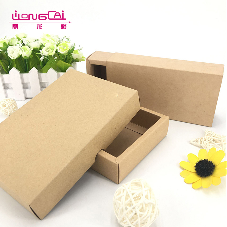 Hot sale solid custom size brown kraft paper gift packaging box with lid