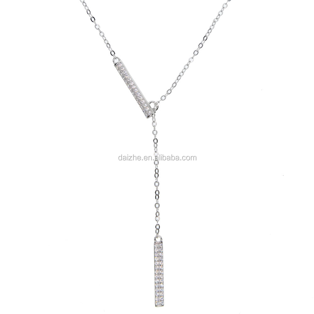 2018 <strong>fashion</strong> 925 sterling pure silver long chian necklace with bar pendant adjustable chain necklace for wedding gift