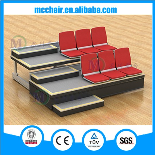 Zhen High quality Fabric Tip-up Basketball Retractable Bleacher Back Stadium Seat System