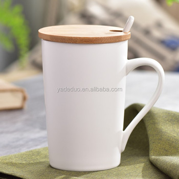 customized ceramic plain white coffee mug with handle and cover