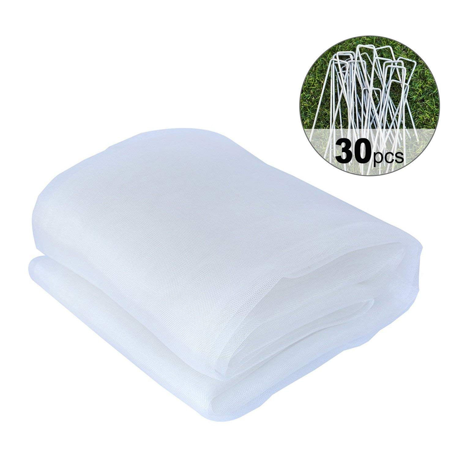 Agfabric 10x30ft Mosquito, Garden Bug Insect Netting,Insect Barrier Bird Net Barrier Hunting Blind Garden Netting with 30 Pegs