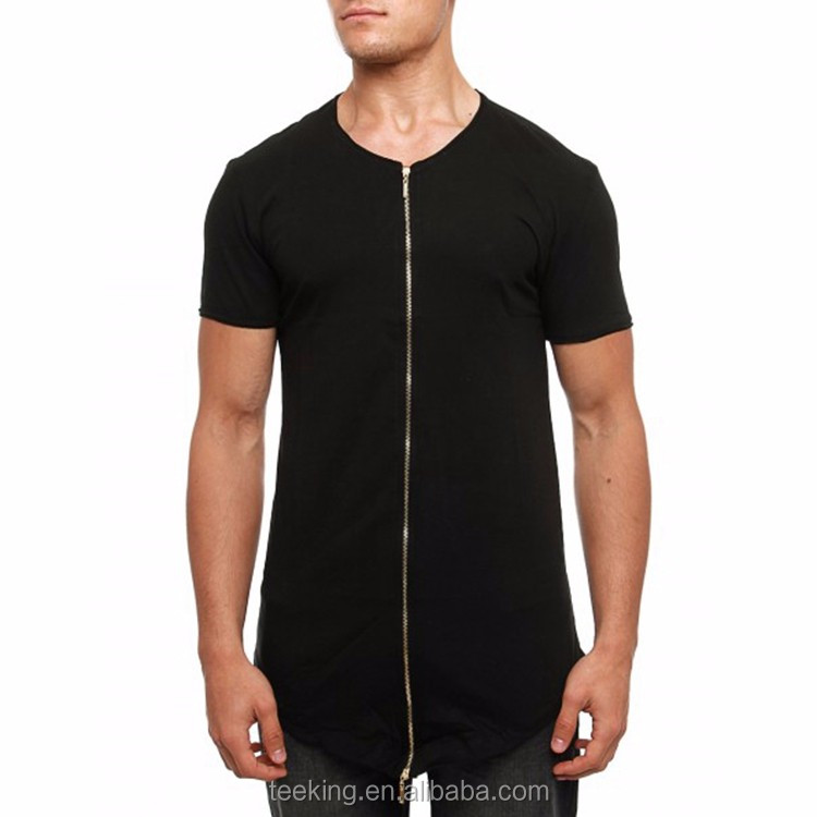 OEM knitted longline curve hem zip up t shirt for men