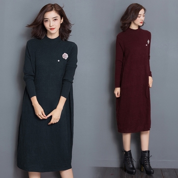 trendy women ladies elegant spring autumn knit long sleeves plain long dress  sweater 069e44f6e