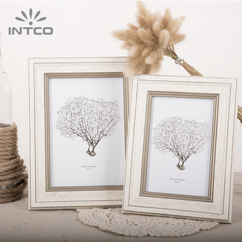 INTCO FSC BSCI 4x6 5x7 8x10 Family and Office Decor Wall Mounting and Desk Top Distressed White Wood Finish Photo Picture Frame