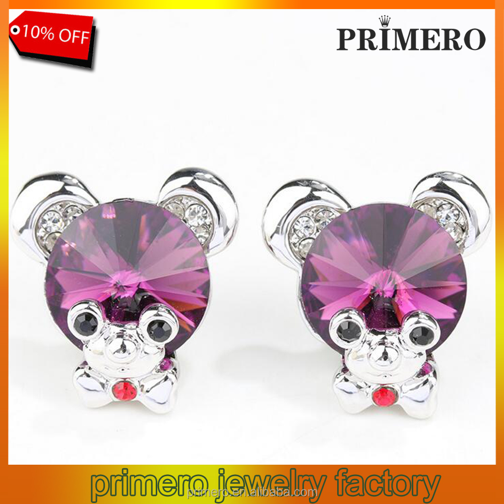 Fashion Korean New Retro Small Rhinestone Earrings Baby Bear Sweet Earrings