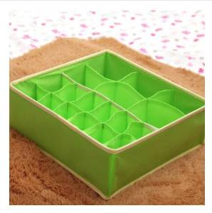 Family expenses 24 grid Underwear storage box Foldable No cover More specifications Wardrobe Drawer Bra Briefs Socks Finishing box Green - 18 grid