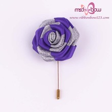 purple satin ribbon silver brooch
