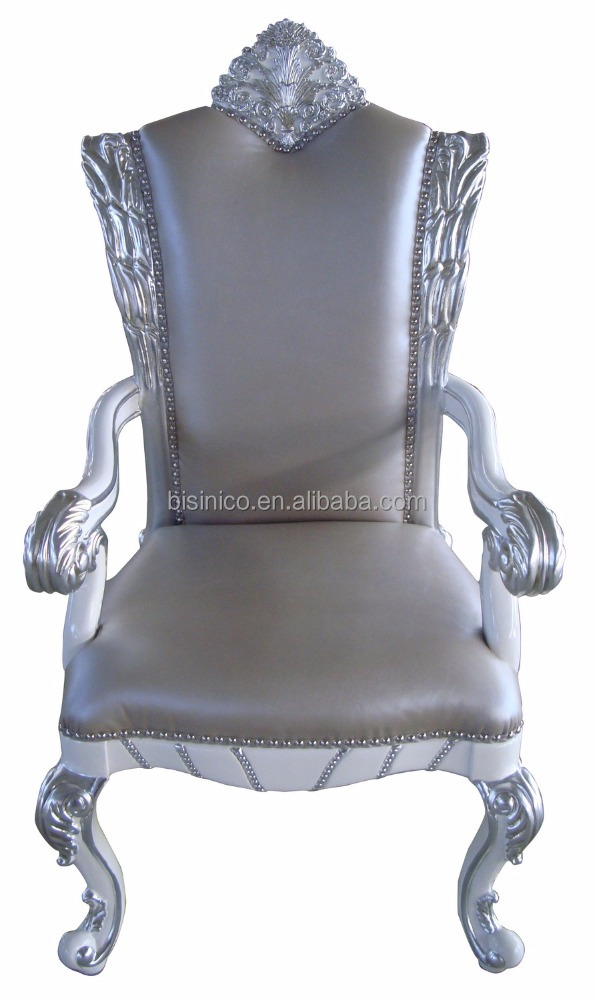 Crown Design Fine Carved Bead Decorated Office Chair, Silver Foil Leather Office Chair