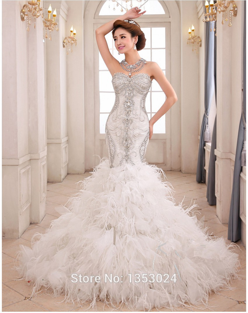 Le Royal Princess Luxury Crystal Beading Sweet Mermaid Wedding Dress Vestido De Noivas Expensive Feathers Dresses Wup Top Ping