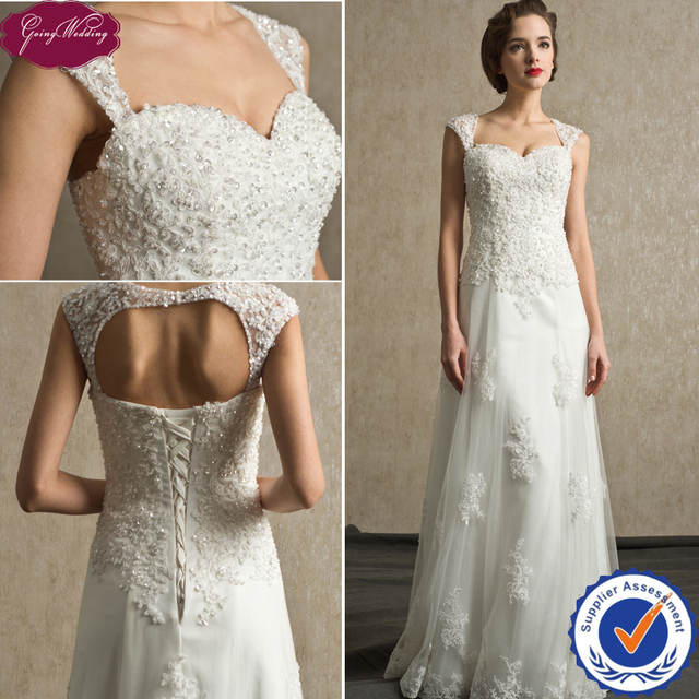 Wedding Gown Patterns With Sleeves: Goingwedding Real Beaded A Line Sweetheart Lace Cap Sleeve