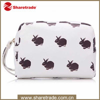 Promotional PVC Zipper Cosmetic Bags with rabbit picture and handle