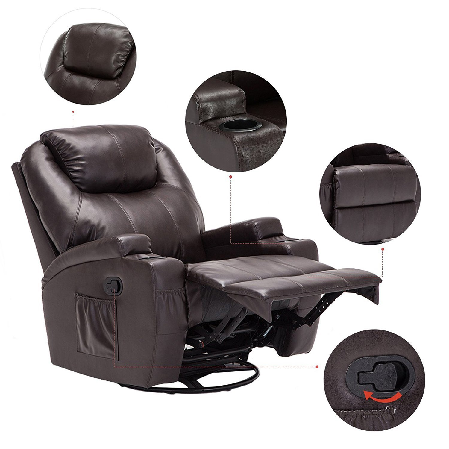 Massage Recliner Chair, 360 Degree Swivel and Heated Recliner Bonded Leather Sofa Chair with 8 Vibration Motors£¬Brown