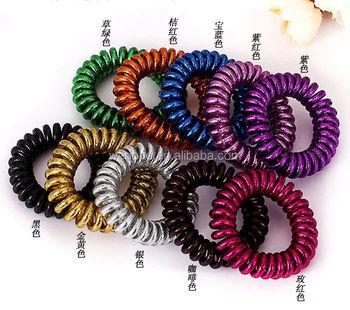 Hot Sale Metallic Telephone Wire Coil Hair Band Metallic Hair Tie Headwear 8d45a07f5fd