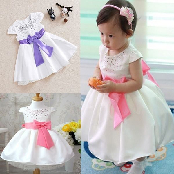 Hot New Baby Girls Kids Princess Prom Wedding Party Bow One piees Gown font b Fancy