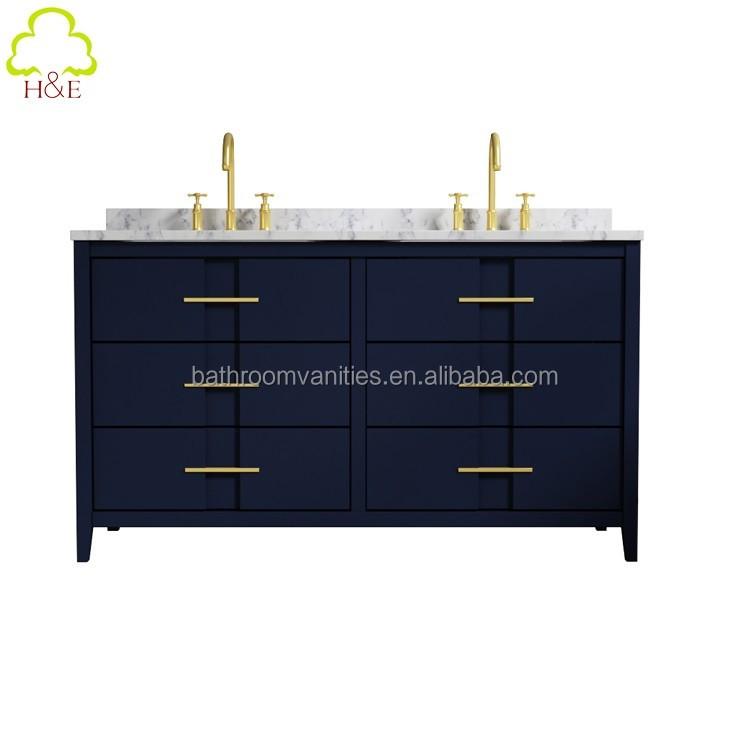 New Navy Blue Dark Waterproof Floor Vanity Bathroom Storage Cabinet Furniture