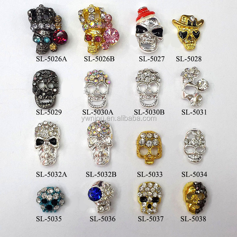 alloy 3d skull head nail art skullcandy stickers for halloween