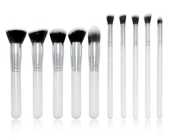 Private Label Synthetische Haar Make-Up Pinsel kunststoff Griff Foundation Lidschatten 10 pcs Kabuki Kosmetik Pinsel