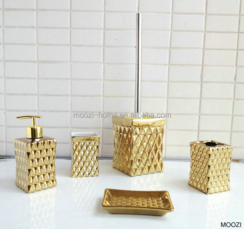 Or couleur salle de bains accessoires or c ramique for Ensemble salle de bain accessoires