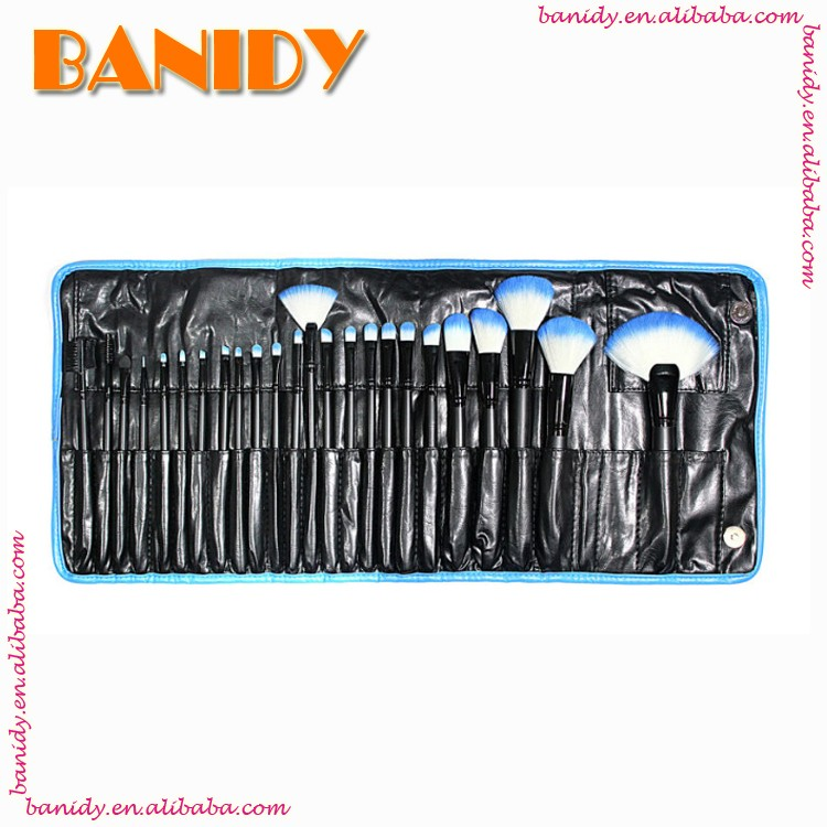 Professional Makeup Brush Set 24pcs Cosmetic Facial Make up Brush Kit Makeup Tools Set with Black Leather Case