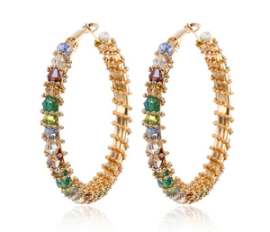 multi color rainbow glass beads crystal beads wrapped gold jewelry plated colored hoop earrings