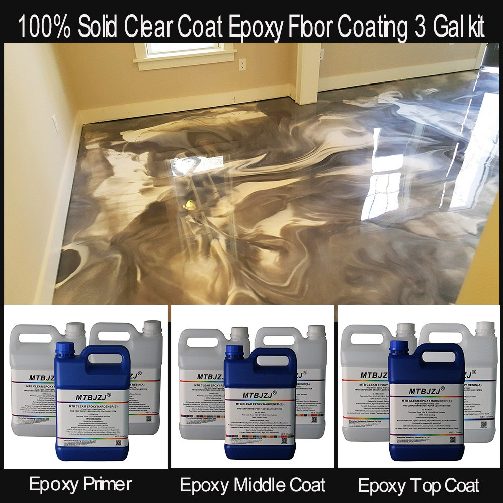 100% Solids Clear Coat Epoxy Floor Coating 3 Gal Kit - Buy