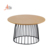 Wholesale round meta wire coffee table wood for living room modern
