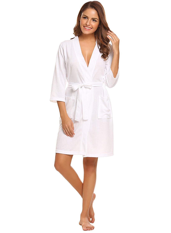 d953750522 Get Quotations · LOMON Robes for Women Sleepwear Waffle Kimono Robe  Loungewear Bathrobes Short