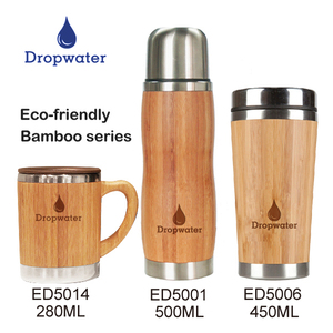 Creative eco friendly triple wall stainless steel vacuum thermo mug/bamboo wood tumbler with design logo