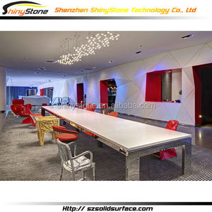 Stylish White Acrylic Stone Meeting Table with stable glossy stainless steel base