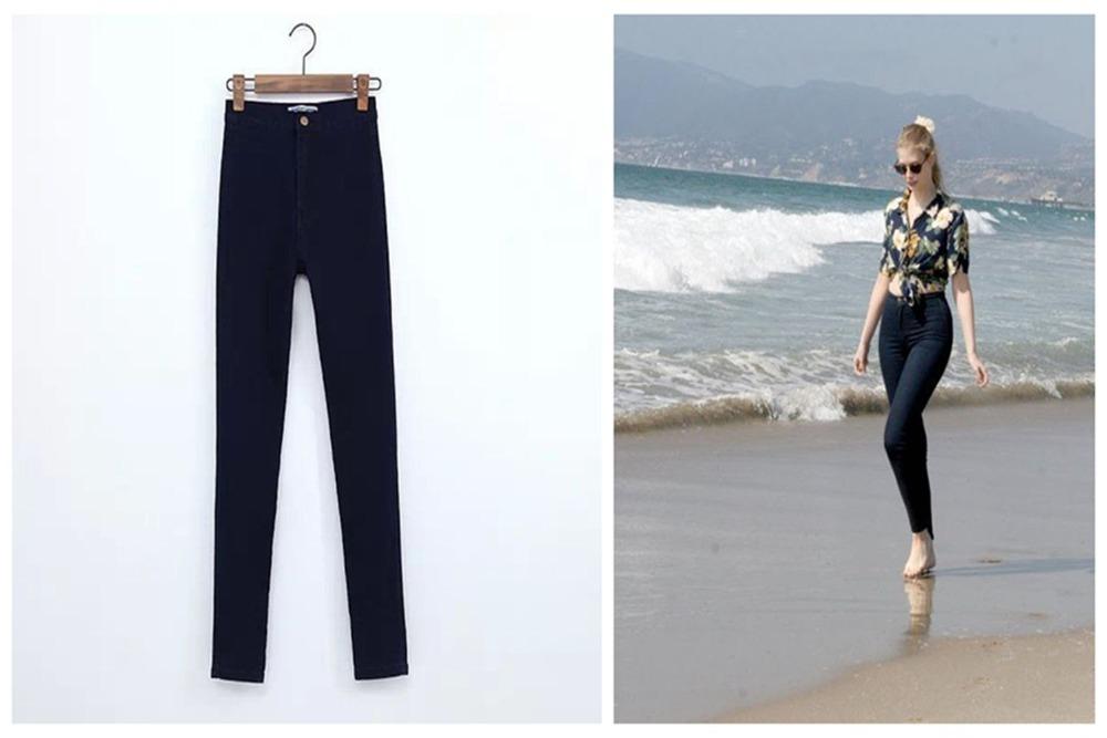 Waist Skinny Denim Pants Ladies Feminina Women Fashion Cotton Pencil High Slim 2015 Hot Jeans Elastic Feminino AR54jLq3