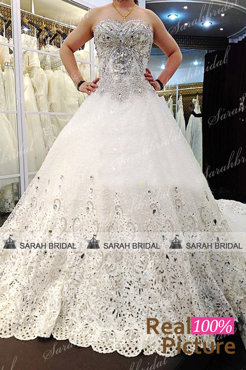 Ivory Luxurious Diamond Long Train Ball Gown Wedding Dress ...