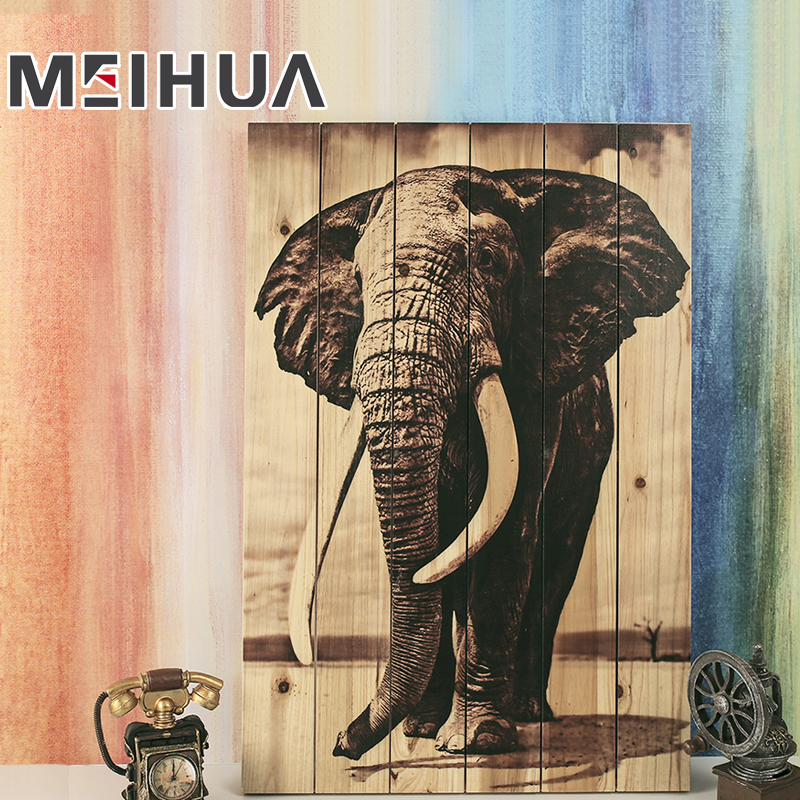 Factory wholesale home decoration animal sculpture painting wooden wall art