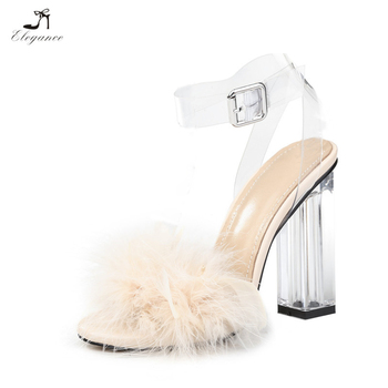 778beda078c New Design Women Chic Faux Fur Perspex Clear High Heel Slide Sandals  Transparent Ankle Strap Peep