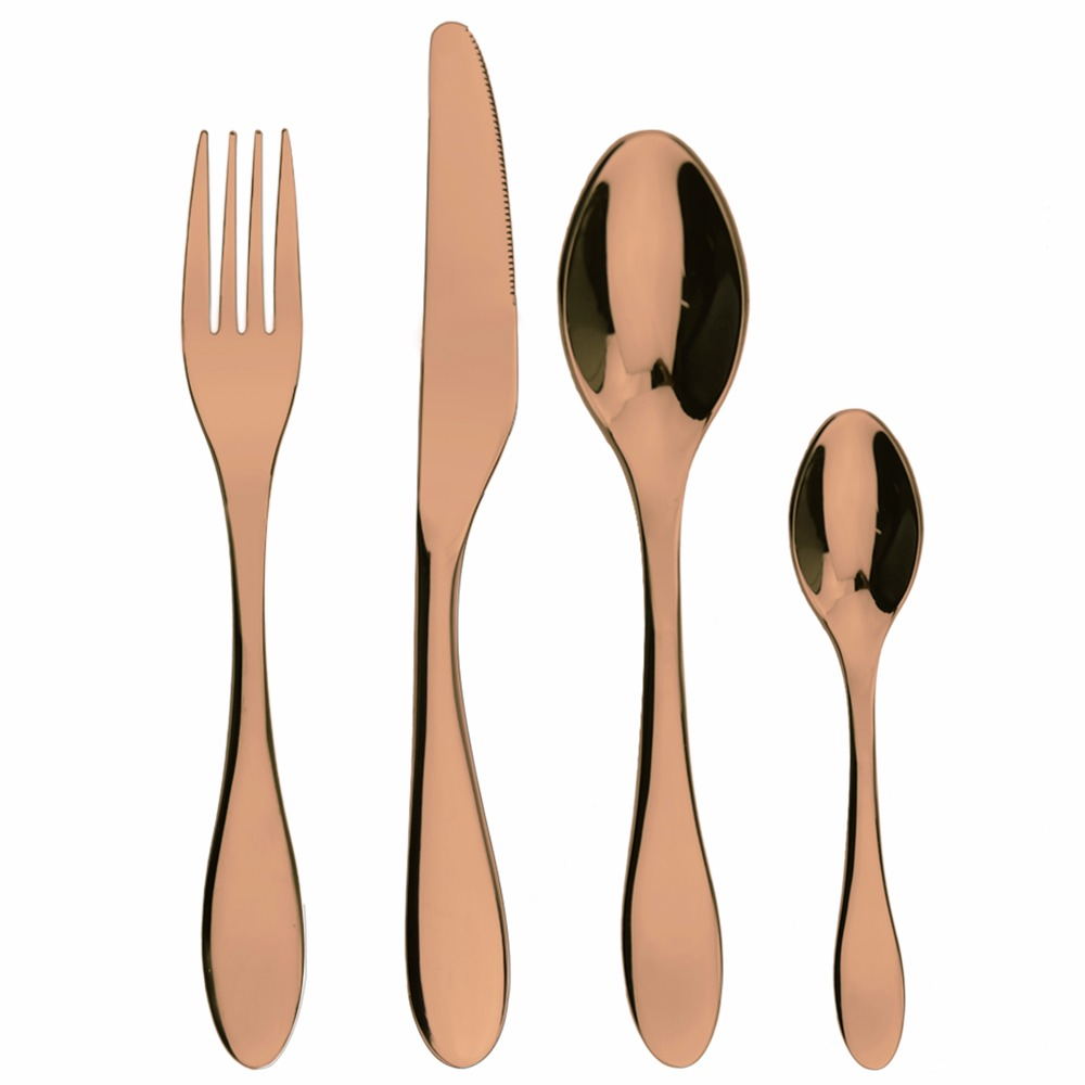 Best selling products rose gold stainless steel children flatware set