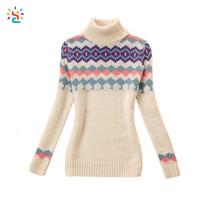 Winter turtleneck sweater women high neck knitting sweater patterns pullover jacquard wool sweater