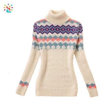 Winter Turtleneck Sweater Women High Neck Knitting Sweater Patterns