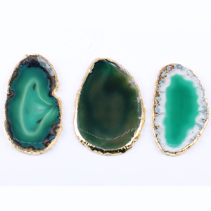 Yase Wholesale Agate Stone Slices Wholesale Brazilian Agate Slices Gold Plating Natural Polished Slices Agate Colorful