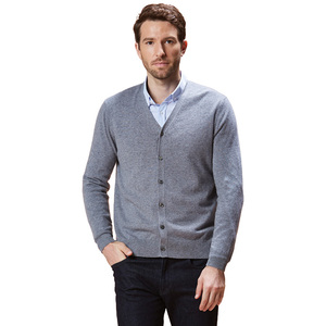 Mens Winter customized knitwear sweaters pure cashmere V-neck cardigan with button