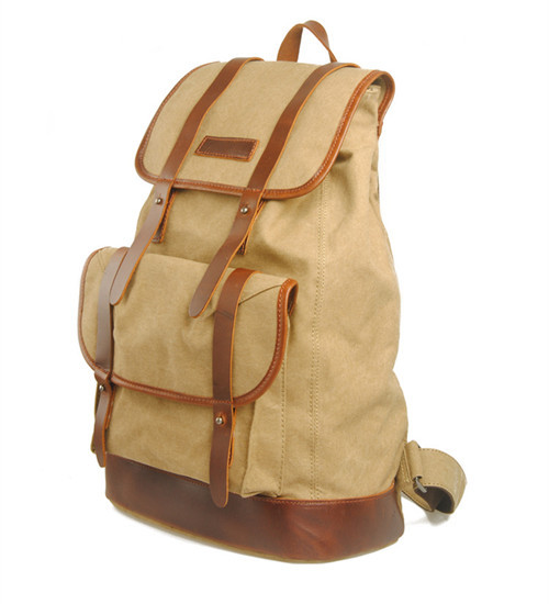 2015 Canvas Backpack fashion vintage unisex backpack leisure travel hiking bag canvas&genuine leather free shipping