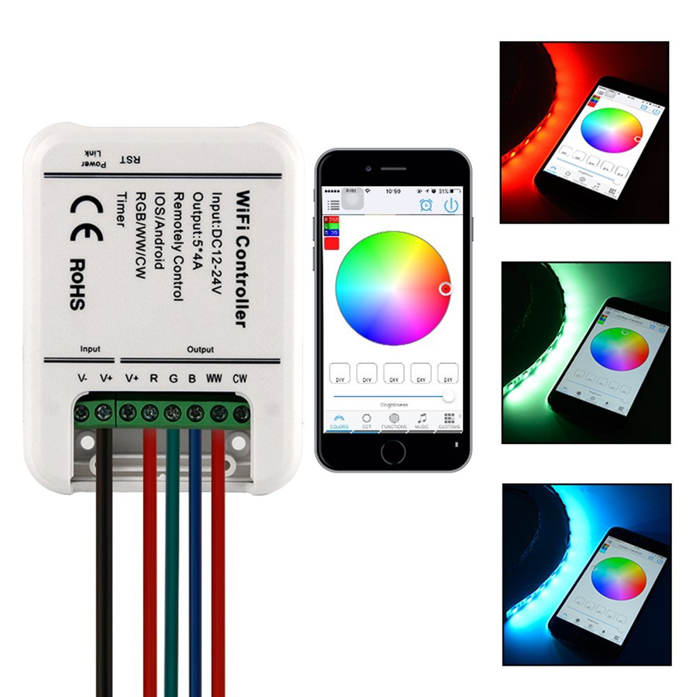 Wireless wifi rgbrgbwwcw led strip light controller12 24v 5 wireless wifi rgbrgbwwcw led strip light controller12 24v 5 channels controller with remote function for ios or android buy rgb led controller wifi 5050 mozeypictures Image collections