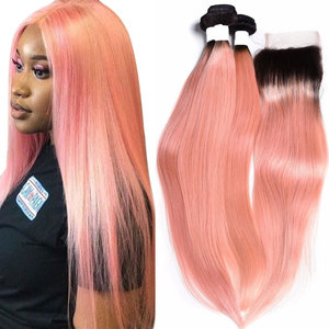 dark root rose pink human hair bundle with closure, ombre malaysian straight hair with closure