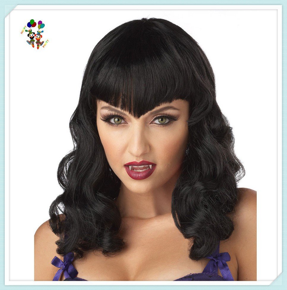 Adult Black Eternal Desire Vampire Synthetic Halloween Party Wigs HPC-0082